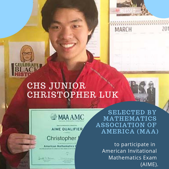 Junior Selected for American Invitational Math Exam