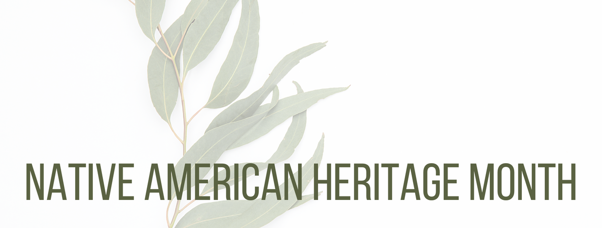 Image of leaves in the background.  Text says Native American Heritage Month