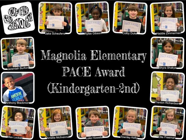 pictures of P.A.C.E. Kindergarten - 2nd grade award winners