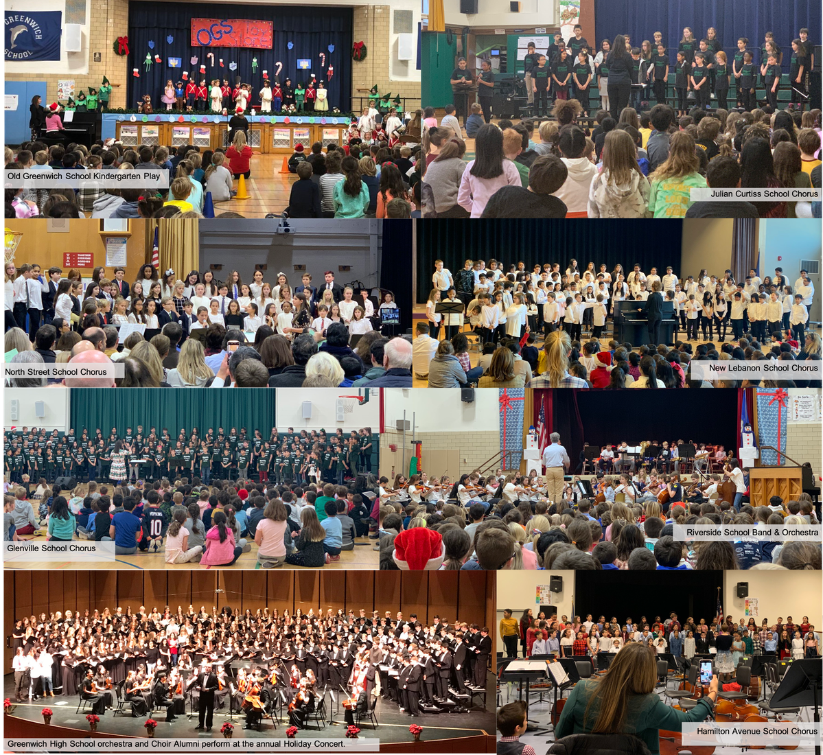 Holiday Concerts across multiple Greenwich Public Schools