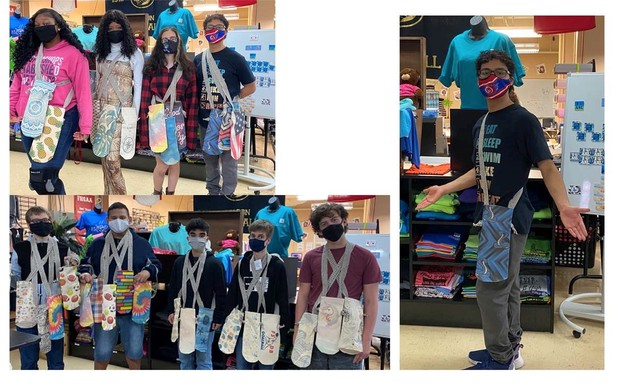 Collage of 3 photos; in each students wear several can pouches around their necks