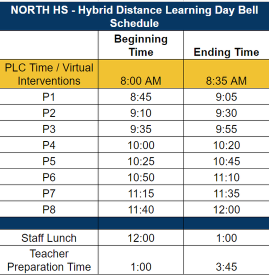Hybrid Distance Learning Day Bell Schedule