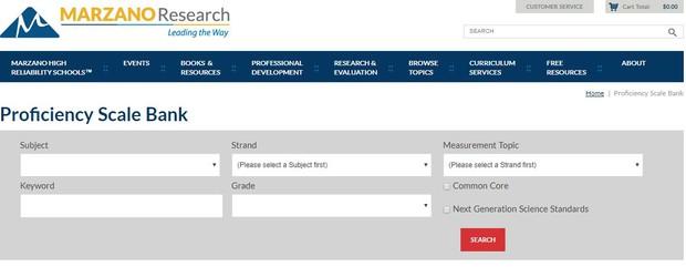 Marzano Research Proficiency Scale Bank