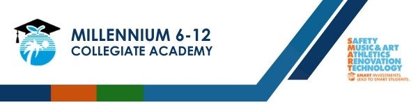 A graphic banner that shows Millennium 6-12 Collegiate Academy name and  SMART logo