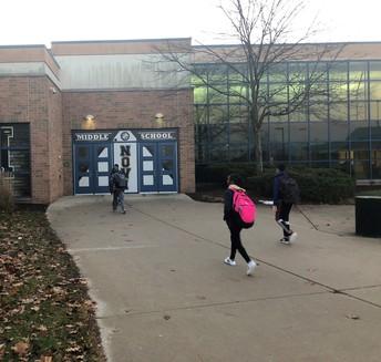 Students entering Novi Middle School
