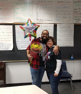 Olle Middle School Principal Miss Billescas and Mr. Mason