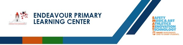A graphic banner that shows Endeavour Primary Learning Center  name and SMART logo