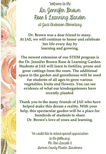 Dr. Jennifer Brown Rose & Learning Garden Dedication