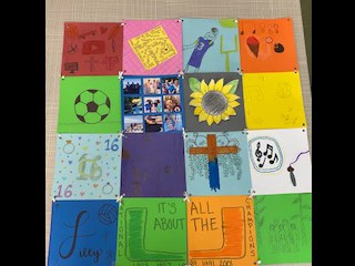 We read everyday use by Alice Walker and its about quilts, family traditions, and sentimental values. Students put a class quilt together to represent their family values and things that were representative of them.