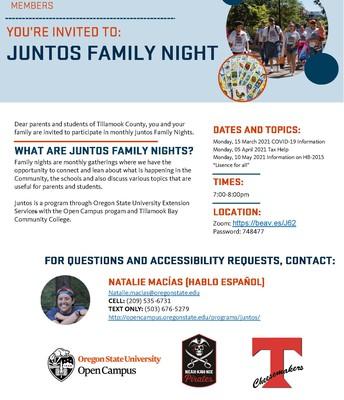 Juntos Upcoming Family Nights