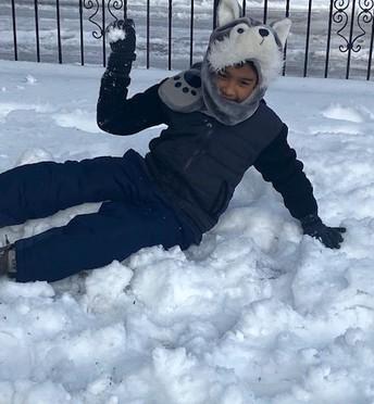 Mathew Velasquez in his cozy snowsuit 🐾