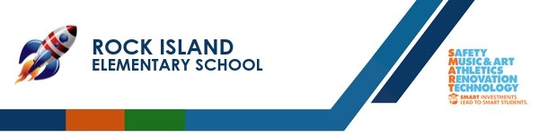 A graphic banner that shows Rock Island  school's name and  the SMART logo
