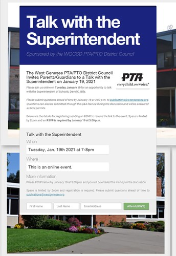 West Genesee District PTA/PTO is Hosting a Talk with the Superintendent