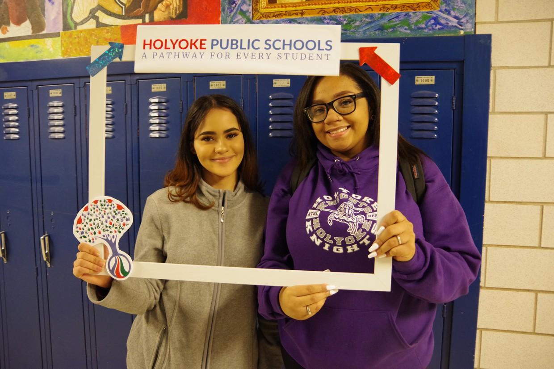 HHS North students holding new HPS Instagram Frame