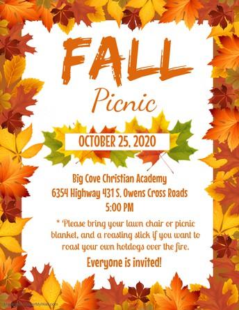 BCCA Fall Picnic, Oct 25 (Sunday)