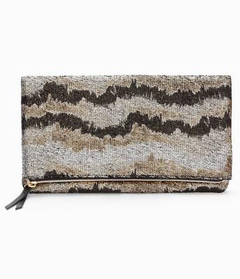 Metallic Knit Clutch