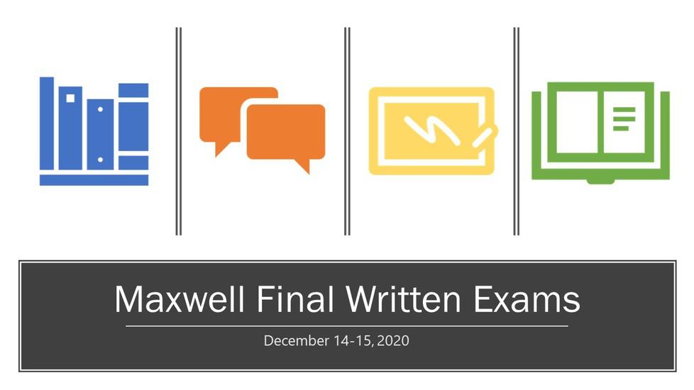 Maxwell schedule for final written exams: December 14-15.