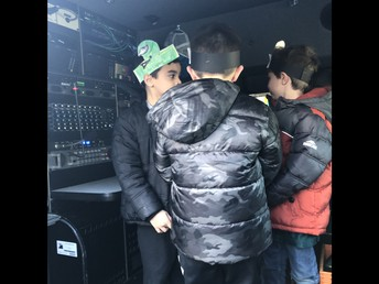 Kids checking out the Channel 3 news truck