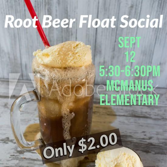 Root Beer float image/ information for rootbeer float social