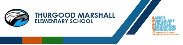 A graphic banner that shows Thurgood Marshall Elementary  School's name and SMART logo