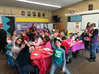 Ms. Crowther's & Ms. White's class celebrating Valentine's Day