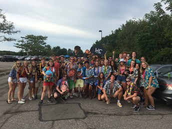 The Hawks Nest student section went 'tropical' for the first home football game. Over 600 students were in the student section to witness the 63-6 opening win over Whitehall.