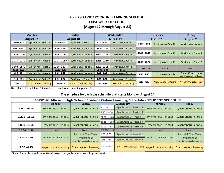 FBISD Online Schedule