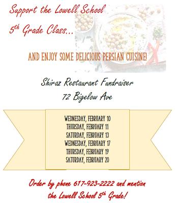 Fifth Grade Fundraiser at Shira's Restaurant