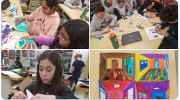 Putting together 3-D room projects in 6th grade Art class