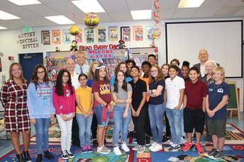 Mrs. Flores invites Mayor Oravec to visit her class